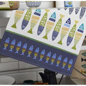 Herring Styled Cotton Tea Towel - kitchen accessories