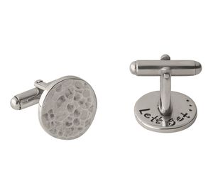 Lets Get… Men's Silver Hammered Cufflinks