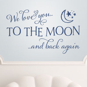 'Love You To The Moon And Back' Quote Wall Sticker - decorative accessories