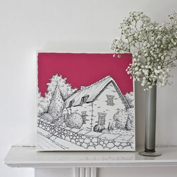 Thatched Cottage Original Canvas Art