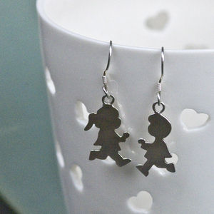 Boy Girl Sterling Silver Earrings For Mums - earrings