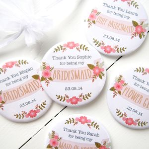 Personalised Floral Bridesmaid Pocket Mirror - wedding thank you gifts