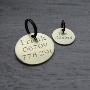 Personalised Brass Pet Tags - top for dogs