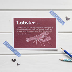 Personalised 'Lobster' Dictionary Definition Card - valentine's cards