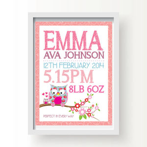 Personalised Owl Birth Print