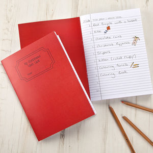 Christmas List Wish Notebook A5