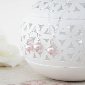Alexia Pink Pearl Pendant And Earring Set