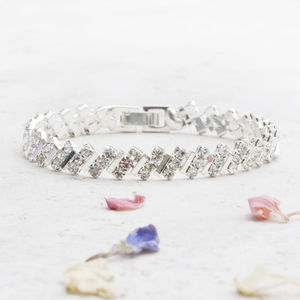 Unity Silver And Diamante Linked Bracelet