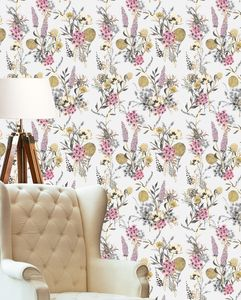 Vintage Meadow In Grey Wallpaper - wallpaper