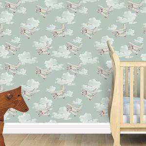 Retro Planes And Clouds Kids Wallpaper - children's room accessories