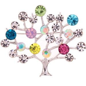 Colourful Jewelled Tree Brooch