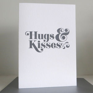 'Hugs And Kisses' Letterpress Card