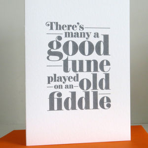 'Old Fiddle' Letterpress Card