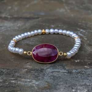 Ruby And Pearl Gold Friendship Bracelet - 40th anniversary: ruby