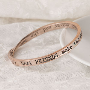 Best Friends Message Bangle Rose Gold Plated - rose gold jewellery