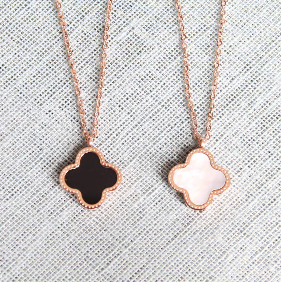 gold of pearl clover pendant necklace by attic