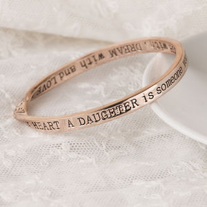 Daughter… Message Bangle Rose Gold Plated - rose gold jewellery