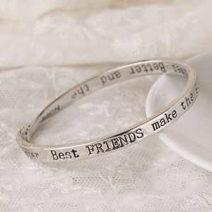 Best Friends…Message Bangles Silver Plated - bracelets & bangles