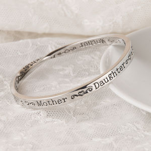 Mother Daughter Friend Message Bangle Silver Plated