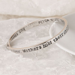Mothers Childrens Message Bangle Silver