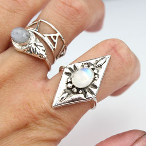 Sterling Silver Moonchild Shield Ring With Moonstone - statement jewellery