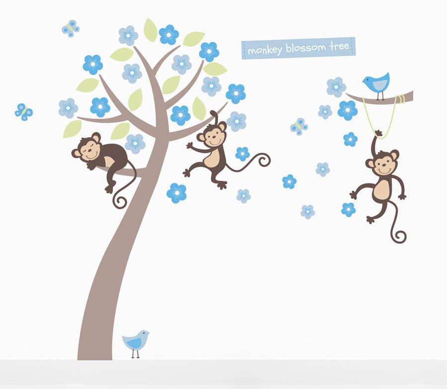 Boys Pastel Monkey Blossom Tree Wall Stickers Part 40