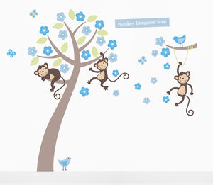 Boys Pastel Monkey Blossom Tree Wall Stickers - shop by price