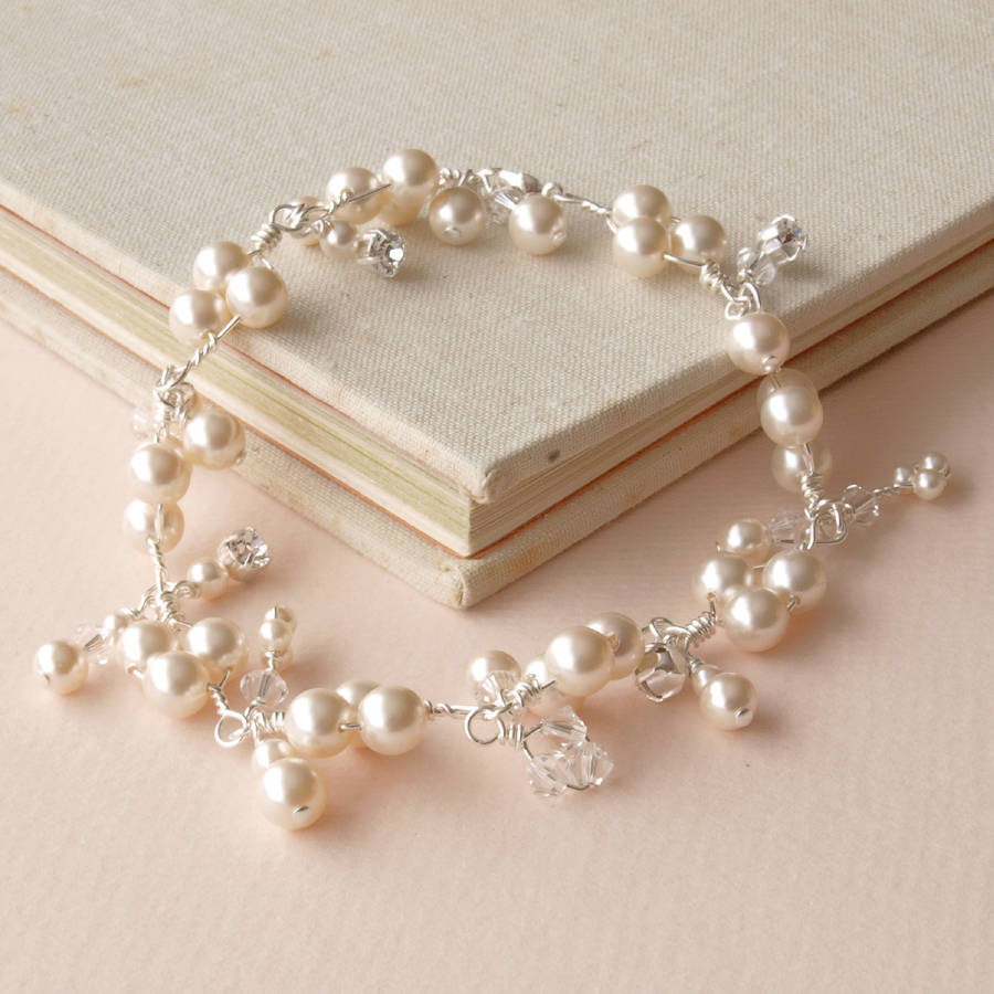 Abigail Pearl And Crystal Cluster Bridal Bracelet By