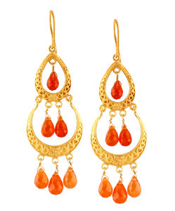 Boho Carnelian Chandeliers - earrings