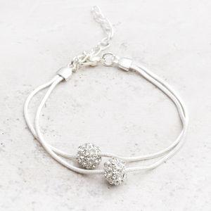 Reena Silver And Diamante Bracelet - bracelets & bangles