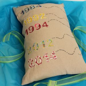 Personalised Timeline Date Memory Cushion - embroidered & beaded cushions