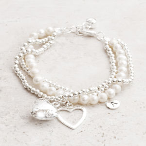 Matilda Fresh Water Pearl And Silver Heart Bracelet - bridesmaid jewellery