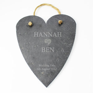 Wedding Personalised Heart Shaped Slate Sign - art & decorations