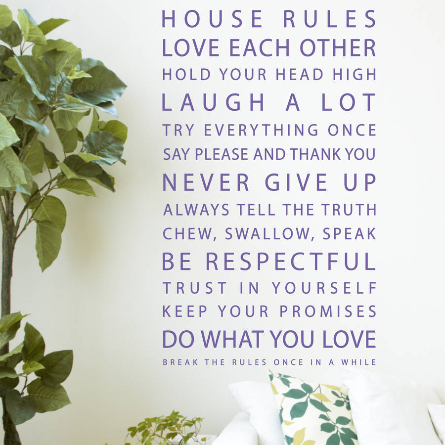 House Rules Quotes Wall Stickers By Pom Gifts Notonthehighstreetcom