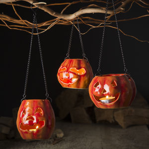 Ceramic Pumpkin Lanterns Set Of Three - halloween