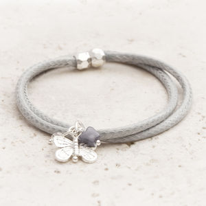 Safia Weaved Leatherette And Silver Butterfly Bracelet - jewellery