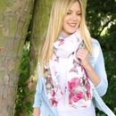 White With Pink Butterflies Scarf