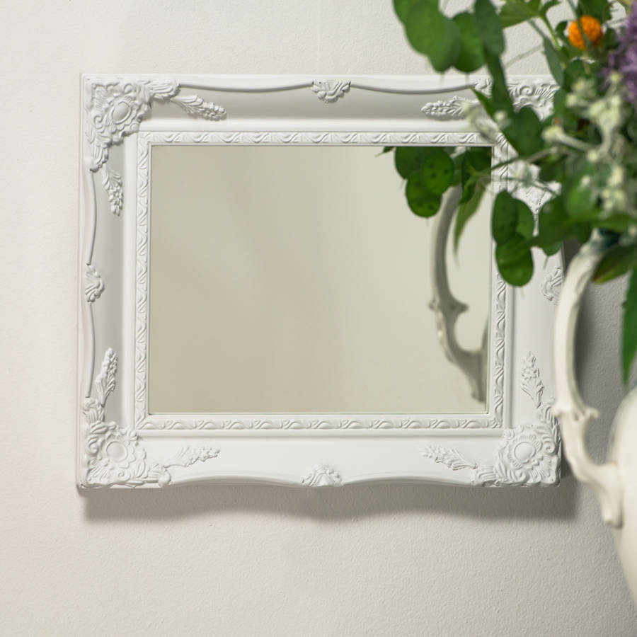 White ornate french mirror by hand crafted mirrors for White mirror