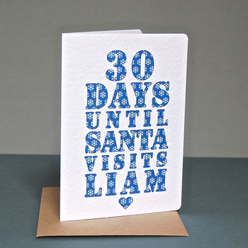 Personalised Christmas Countdown Card