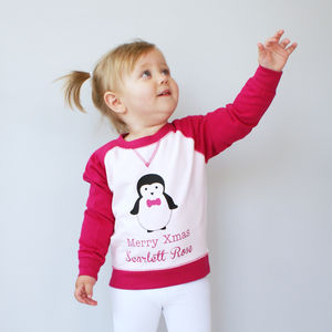 Personalised Children's Penguin Christmas Jumper - jumpers & cardigans