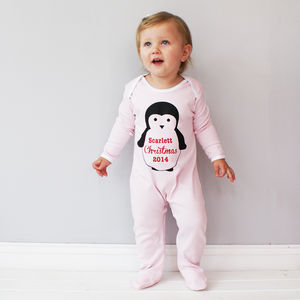 Personalised Baby Christmas Sleepsuit - clothing