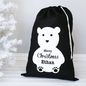 Personalised Polar Bear Christmas Sack - ribbon & wrap