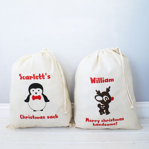 Personalised Christmas Gift Sack - ribbon & wrap
