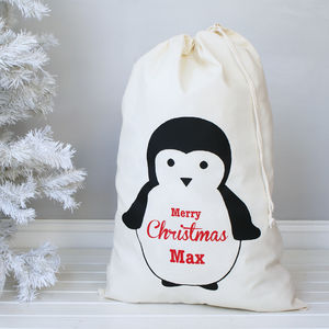Personalised Penguin Christmas Sack - baby's first christmas