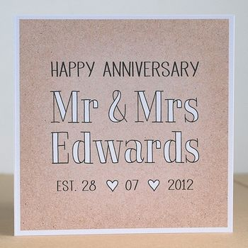 Mr And Mrs Personalised Anniversary Card