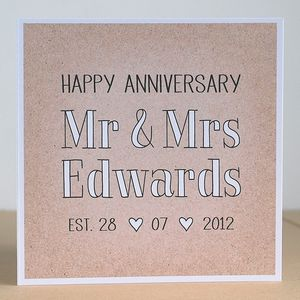 Mr And Mrs Personalised Anniversary Card - wedding, engagement & anniversary cards