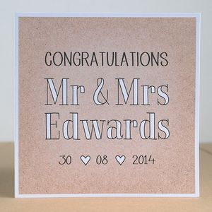 Mr And Mrs Personalised Wedding Card - wedding cards