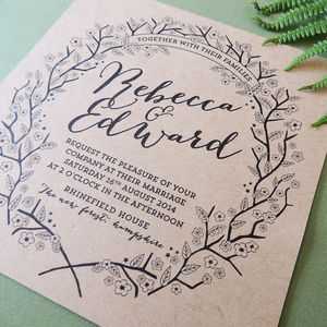 Enchanted Forest Kraft Wedding Invitation - invitations