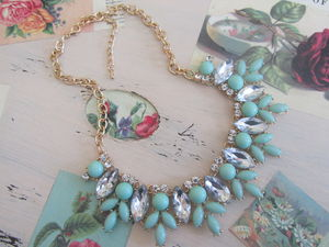 Mint Green Jewel Crystal Statement Necklace - cocktail jewellery