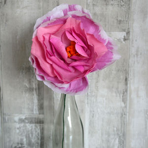 Large Pink Paper Peony - artificial flowers